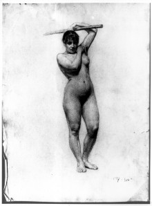 Academic work: Nude, standing full length, holding a stave over her head 10933